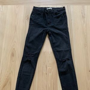 MADEWELL skinny jeans knee rips and frayed bottom